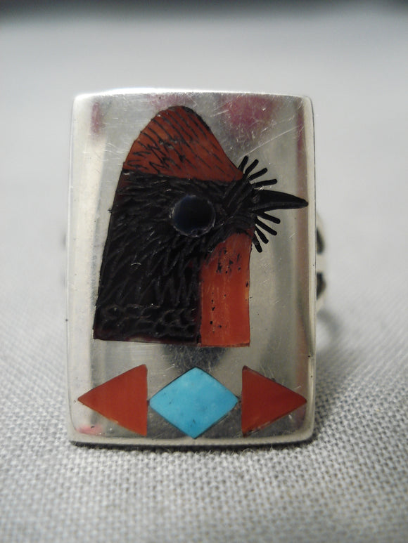 Detailed Zuni Native American Red Bird Sterling Silver Turquoise Coral Ring