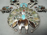 Very Rare Turkey Vintage Native American Zuni Turquoise Sterling Silver Squash Blossom Necklace