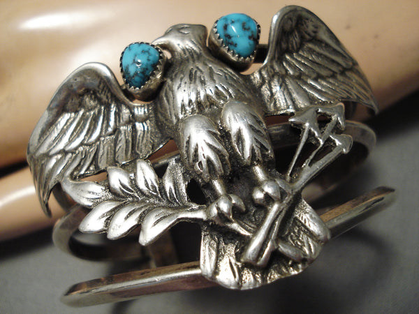 One Of The Best Vintage Native American Navajo Eagle Sterling Silver Turquoise Bracelet Old