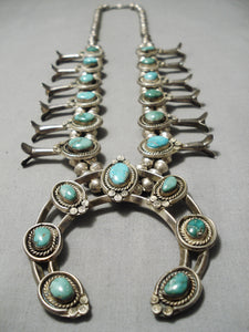 Authentic Vintage Native American Navajo Green Turquoise Sterling Silver Squash Blossom Necklace
