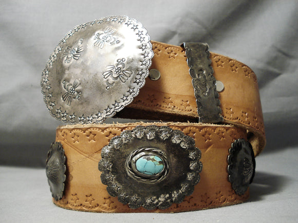 Unforgettable Vintage Native American Navajo Turquoise Sterling Silver Concho Belt Old