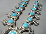 Amazing Vintage Native American Navajo Turquoise Sterling Silver Squash Blossom Necklace