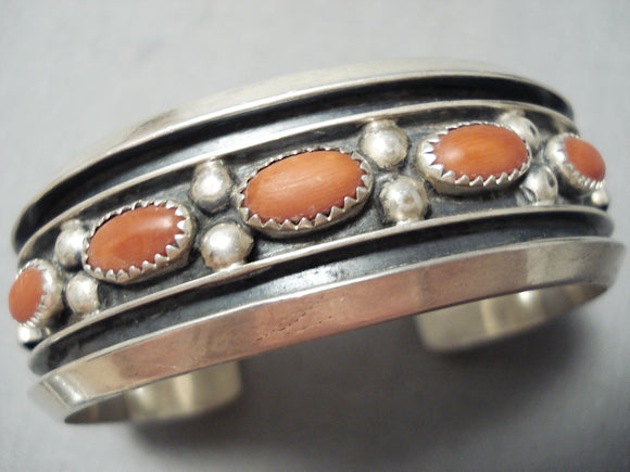 Superior Vintage Native American Navajo Contemporist Sterling Silver Coral Bracelet Old