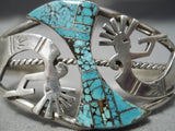 One Of The Best Vintage Native American Navajo Kokopelli #8 Turquoise Sterling Silver Bracelet