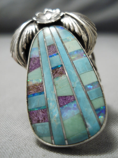 Huge Detailed Native American Navajo Turquoise Inlay Sterling Silver Ring