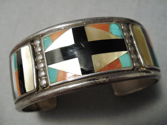 Important Vintage Native American Zuni Early Don Dewa Turquoise Sterling Silver Bracelet Old