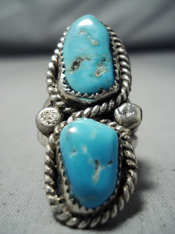 Impressive Vintage Native American Navajo Turquoise Sterling Silver Ring Old
