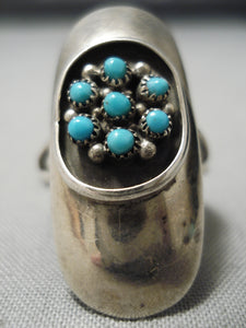 Striking Vintage Native American Navajo Snake Eyes Turquoise Sterling Silver Ring Old