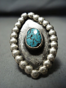 Rare Vintage Native American Navajo Old Kingman Turquoise Sterling Silver Ring