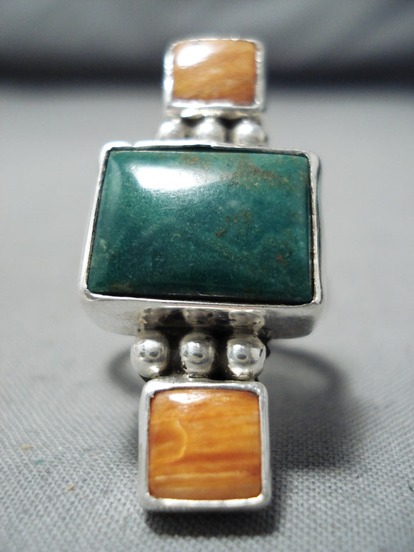 Unique Navajo Native American Turquoise Spiny Oyster Sterling Silver Ring