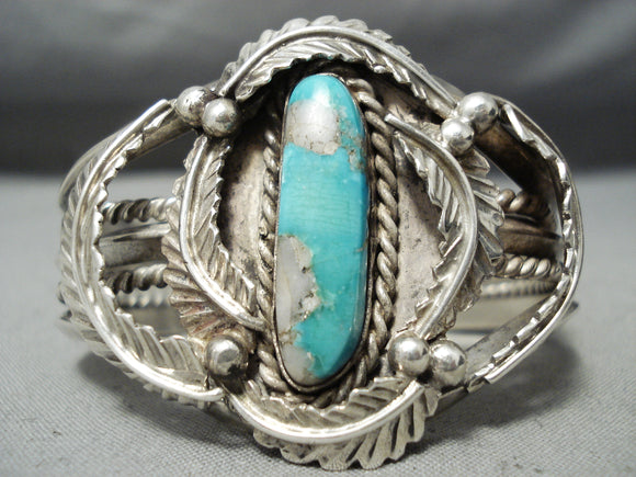 Heavy Thick Vintage Native American Navajo Gilbert Turquoise Sterling Silver Leaf Bracelet Old
