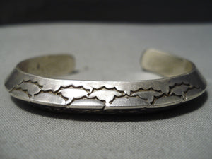 Thick Heavy Vintage Native American Navajo Sterling Silver Triangular Shank Bracelet Old Cuff