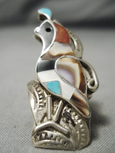 Opulent Vintage Zuni Native American Turquoise Sterling Silver Quail Ring