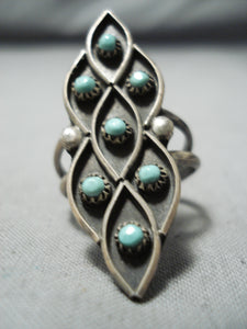 Amazing Vintage Native American Zuni Blue Gem Turquoise Sterling Silver Ring Old