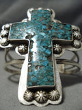 Towering Cross Christian Turquoise Native American Navajo Sterling Silver Bracelet Cuff