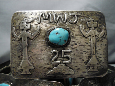 Opulent Vintage Native American Navajo Turquoise Sterling Silver Concho Belt Old