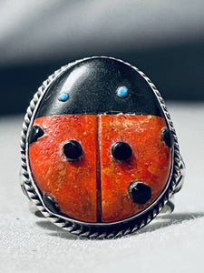 Important Ben Begaye (d.) Native American Navajo Coral Turquoise Ladybug Sterling Silver Ring