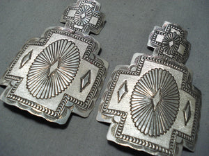 Exquisite Navajo Sterling Silver Huge Cross Earrings Native American