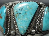Heavy Quality Authentic Vintage Native American Navajo Turquoise Sterling Silver Bracelet Old