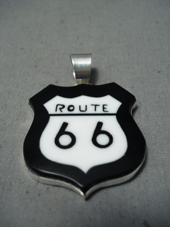 Unique Native American Navajo Black Onyx Inlay Sterling Silver Route 66 Pendant