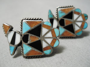 Striking Vintage Zuni Native American Turquoise Coral Sterling Silver Earrings