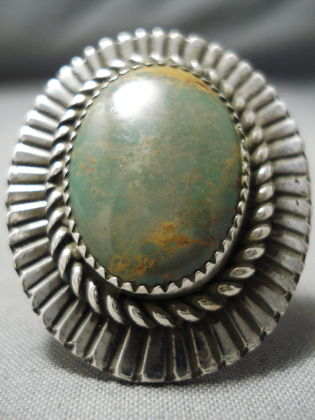 Stunning Native American Green Turquoise Sterling Silver Segemented Ring