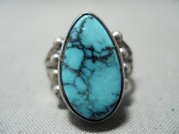 Rare Turquoise Vintage Native American Navajo Blue Diamond Sterling Silver Ring Old
