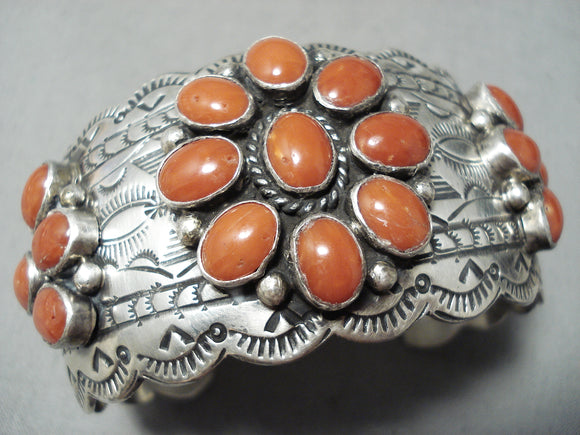 Important Vintage Native American Navajo Mar James Coral Sterling Silver Bracelet