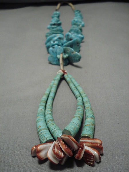Opulent Vintage Native American Navajo Squawstyle Turquoise Nugget Necklace Old