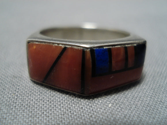 Amazing Vintage Native American Navajo Coral Lapis Jim Harrison Sterling Silver Ring Old