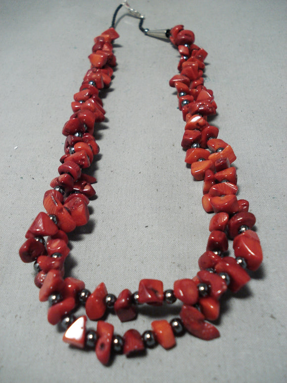 Stunning Navajo Coral And Hematite Sterling Silver Necklace Native American
