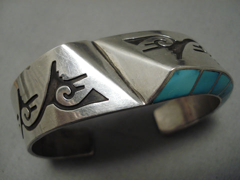 One Of Best Multi Technique Vintage Native American Navajo Turquoise Sterling Silver Bracelet