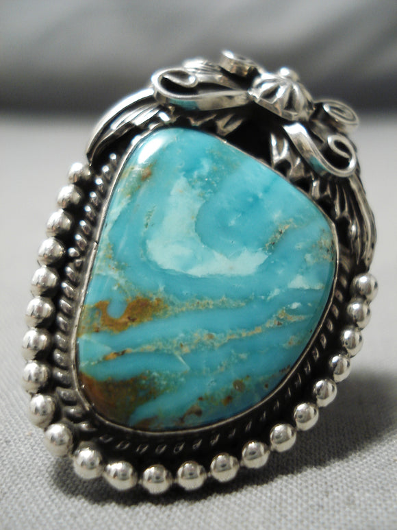 Stunning Rob Shakey Vintage Native American Navajo Royston Turquoise Sterling Silver Ring