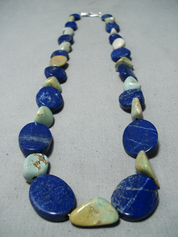 Tremendous Native American Navajo Royston Turquoise Lapis Sterling Silver Necklace