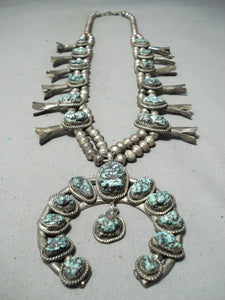 Women's Longer Vintage Native American Navajo Turquoise Sterling Silver Squash Blossom Necklace
