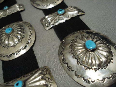 Heavy Vintage Navajo Sterling Silver Native American Turquoise Concho Belt Old