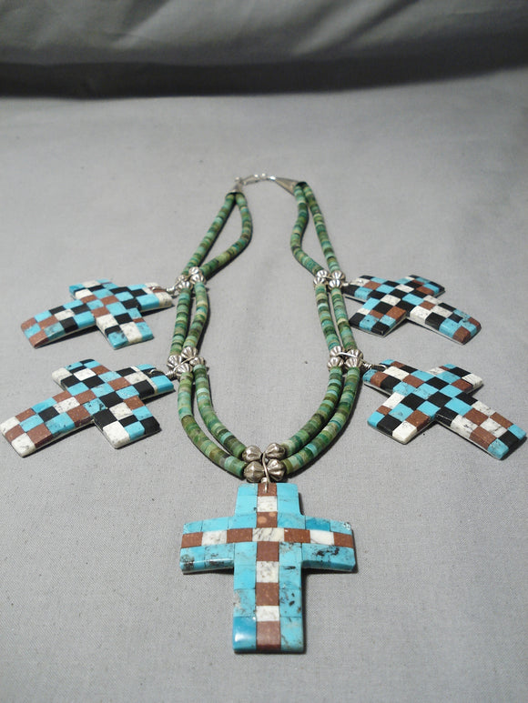 Native American One Of The Best Vintage Santo Domingo Turquoise Cross Sterling Silver Necklace