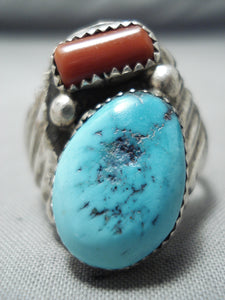 Rich Long Vintage Native American Navajo Sleeping Beauty Turquoise Coral Sterling Silver Ring