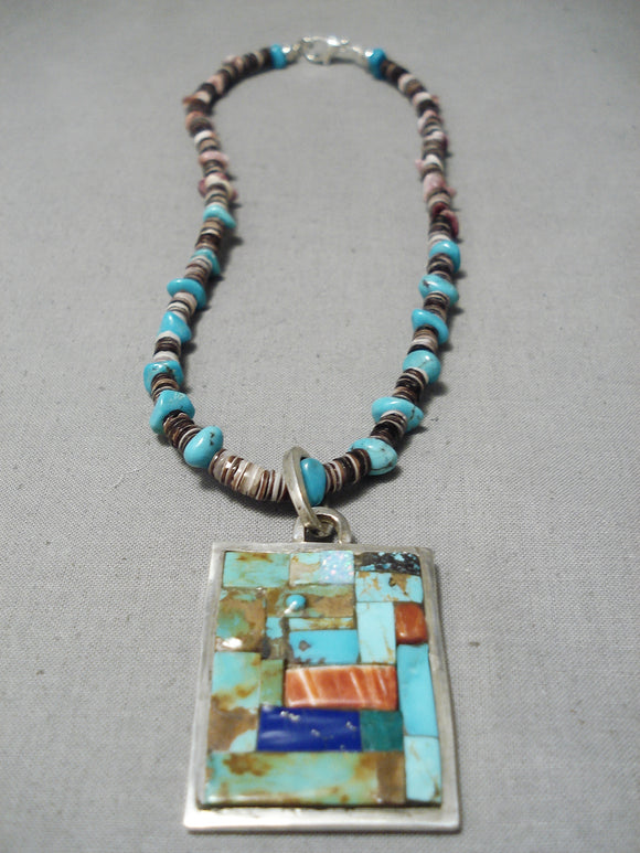 Opulent Vintage Native American Navajo Turquoise Lpais Inlay Sterling Silver Necklace