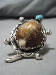 Marvelous Vintage Navajo Turtle Turquoise Sterling Silver Native American Ring