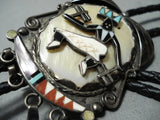Detailed Vintage Zuni Native American Turquoise Kachina Sterling Silver Bolo Tie