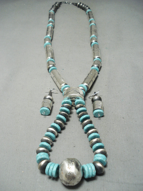 Signed Huge Native American Navajo Tubule Sterling Silver Turquoise Necklace Set