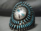 One Of Biggest Best Vintage Native American Navajo Turquoise Bluejay Sterling Silver Bracelet
