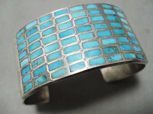Early Vintage Zuni Native American Navajo Turquoise Sterling Silver Inlay Bracelet Cuff Old