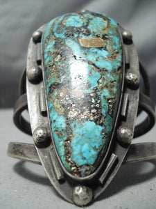 One Of Best Ever Vintage Native American Navajo Old Kingman Turquoise Sterling Silver Bracelet