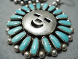 Happy Face Vintage Native American Navajo Turquoise Sterling Silver Earrings