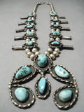 Authentic Vintage Native American Navajo Rare Turquoise Sterling Silver Squash Blossom Necklace