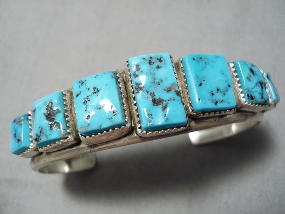 Striking Vintage Navajo Sleeping Beauty Turquoise Bracelet Native American