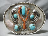 Colossal Vintage Native American Navajo Domed Turquoise Coral Sterling Silver Buckle Old