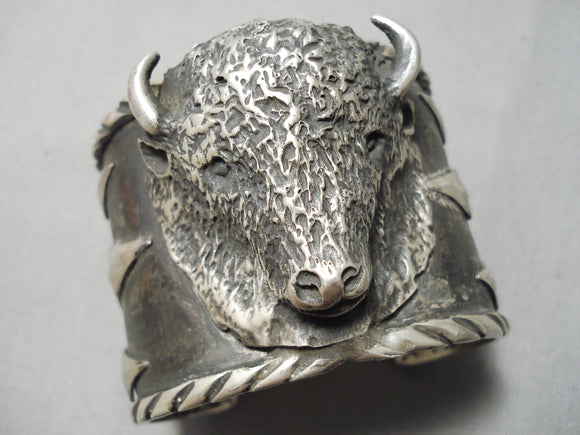 Heavy Huge Men's Native American Navajo Sterling Silver Buffalo Bracelet Cuff